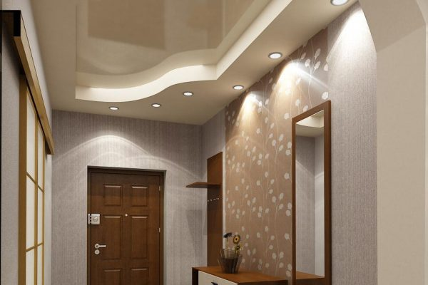 Потолок очень важная часть интерьера прихожей, его дизайн должен быть продуманным и сочетаться с общей стилистикой помещения