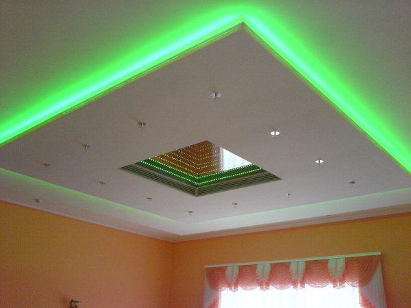 Для сплошной отделки потолка применяют гипсокартон