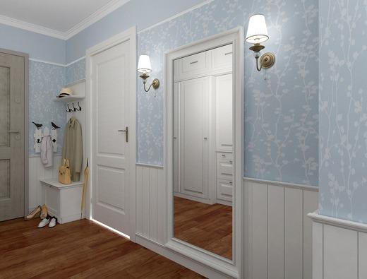 Дизайн, выполненный в белом, бежевом, небесно-голубом, лавандовом цветах поможет зрительно увеличить комнату