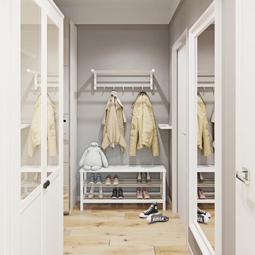Дизайн прихожей в скандинавском стиле требует максимальной простоты мебельных форм