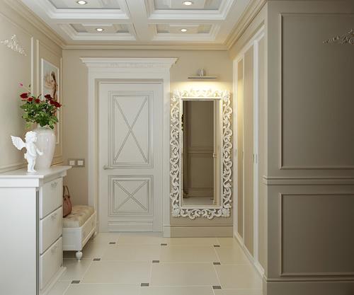 Допускается имитация натуральных материалов при оформлении интерьера прихожая в классическом стиле