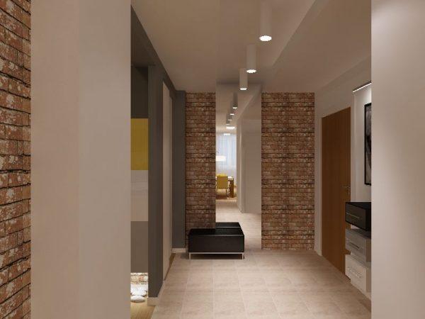 На стенах в просторной прихожей хорошо смотрится фактурная штукатурка — чем грубее поверхность, тем лучше. Для маленького помещения такая отделка не подойдёт, её просто не будет видно за мебелью