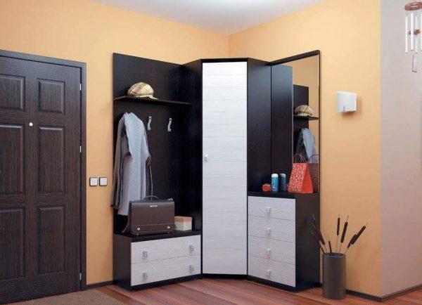 На фото представлен угловой шкаф-купе, которые идеально впишется в интерьер маленькой прихожей