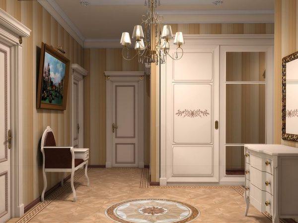 На этом фото можно увидеть все основные черты классического интерьера прихожей