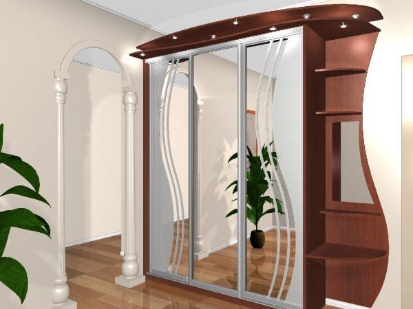 Встроенный шкаф-купе с зеркалами