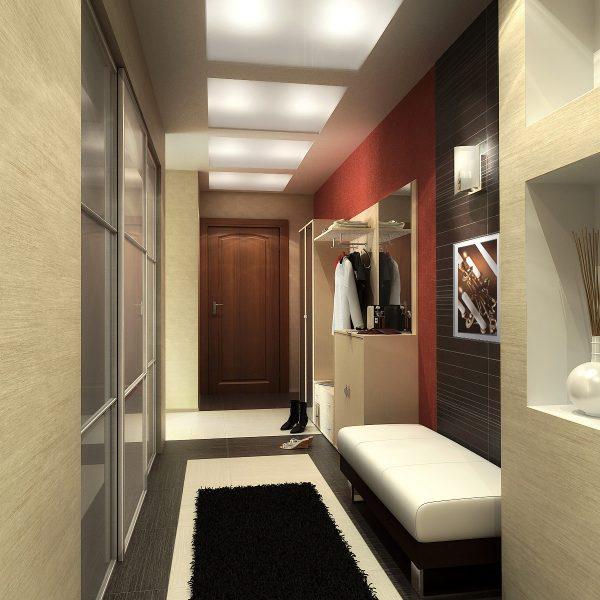 Интерьер прихожей в малогабаритной квартире в современном стиле.