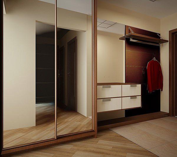 Шкаф купе в зеркалами в узкую прихожую