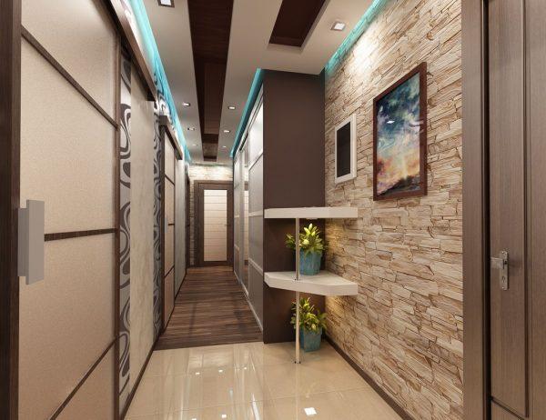 Дизайн прихожей для узкого длинного коридора