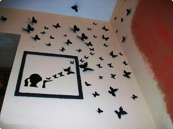 Картинка бабочки на стене