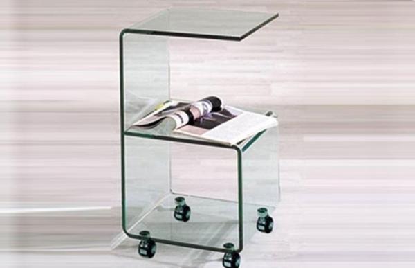 Стеклянные журнальные столики на колесиках