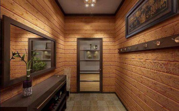 Дизайн, выполненный в древесных тонах, станет превосходным дополнением для прохладных оттенков обоев