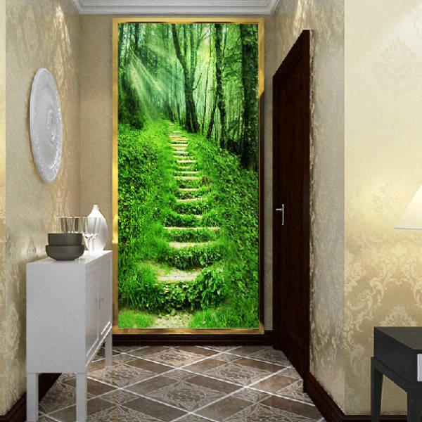 Рекомендуется отделать дальнюю стену, противоположную входной двери, изображениями с цветущими рощами, полями